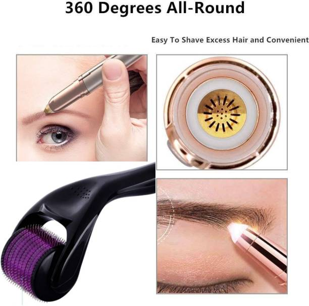 PRECISE ART COMBO Of Derma Roller 0.5mm For Face Acne Scars, Skin Ageing & Hair Regrowth AND Flawless Brows hair remover Built in light lets you see even the finest hairs discreet Runtime: 45 min Trimmer for Women .(Combo - Pack of 2 ) (Multicolour) Eyebrow Thread