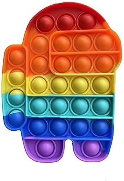 Zmeet Pop It Fidget Toys,Push Pop Bubble Fidget Sensory Toy,Autism Special Needs Silicone Stress Relief Toy,Great Fidget Toy Sensory Toys Novelty Gifts for Girls Boys Kids Adults (Robot-Rainbow)