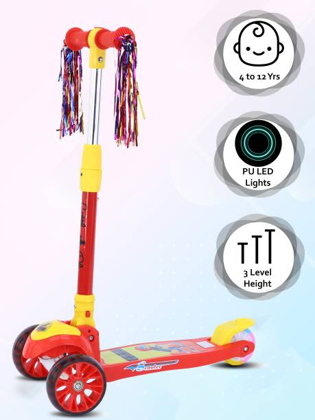 Little Olive Scooter For Kids 3 Years Above 3 Level Height LED PU Wheels with Extra Wide Brake