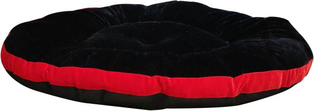 Hiputee Super Soft Velvet Round Black-Red Dog/Cat Bed/Cushion/Seat Small S Pet Bed