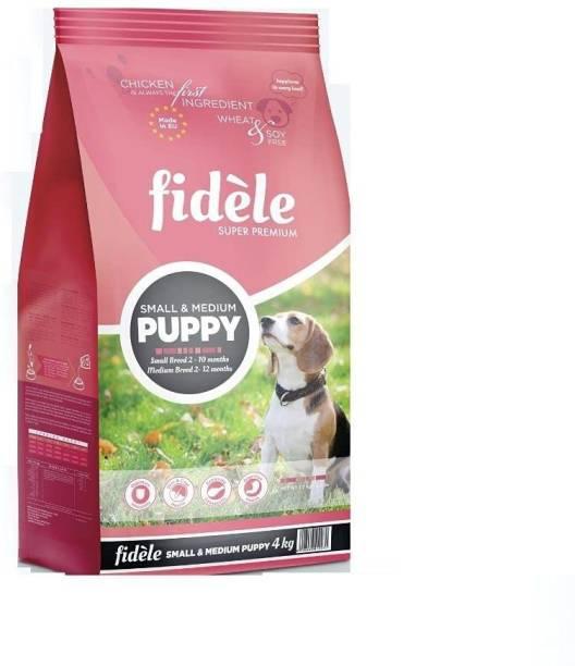 FIDELE Fidele Dry Dog Food, Puppy Small & Medium Breed, 4-kg Chicken 4 kg Dry Young, New Born Dog Food