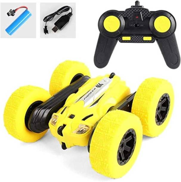 Royaldeals RC Stunt Car - 2.4Ghz Double Sided 360° Spin & Flip with LED Lights Remote Control Racing Truck 4WD for Kids (Yellow?