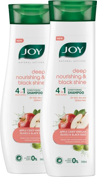 Joy Natural Actives Deep Nourishing & Black Shine 4 in 1 Multi Action Conditioning Shampoo for Dull Hair | With Apple Cider Vinegar, Amla, Back Seed & Olive Oil | Hair Conditioning Shampoo ( Pack of 2 X 340ml )