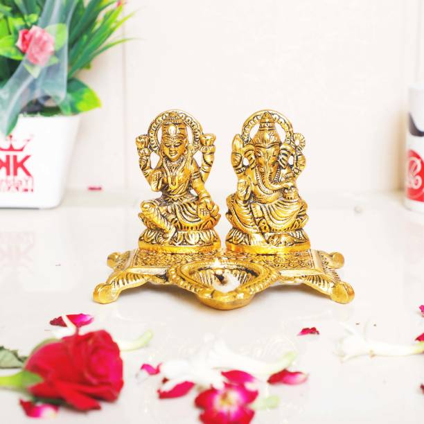 KridayKraft Metal Laxmi Ganesha Statue Unique and one of a Kind Rare handicrafted Idol for Pooja Room & Decor Your Home, Office,Gift Your Relatives on Diwali,Wedding. Decorative Showpiece  -  14 cm