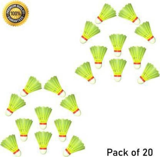 VLNN Combo of 20 Shuttlecocks Plastic Shuttle  - Green