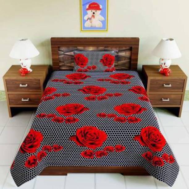 CRAFTWELL 144 TC Microfiber Single Floral Bedsheet