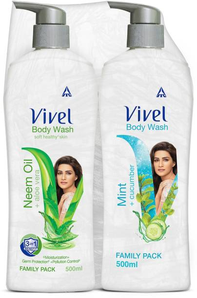 Vivel Body Wash, Mint & Cucumber and Neem Oil & Aloe Vera, Shower Crme, 500ml Pump, For women and men