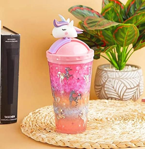Pranjly Kids Unicorn Acrylic Ice Jar/Frosty Sipper With Sliding Straw & detachable Unicorn 500 ml Sipper