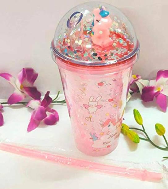 Pranjly Kids Unicorn Plastic Acrylic Ice Jar/ Sipper Glass Tumbler With Straw 500 ml Sipper