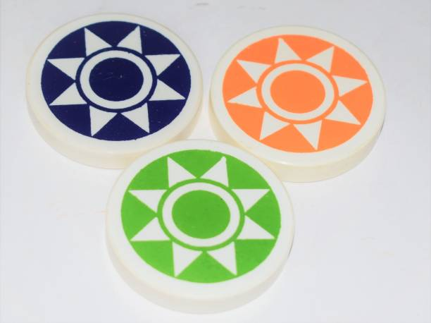 RJ Gallery Carrom Striker set of 3 with boxes (Green, Orange, Blue) Carrom Pawns