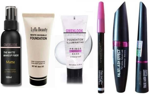 LYFFA beauty Black Smudge Proof 3in1 kajal Eyeliner Mascara + Waterproof Full coverage Foundation Fixer Primer