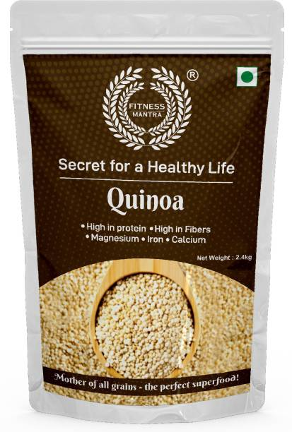 Fitness Mantra Organic White Quinoa Seeds for Weight Management, Gluten-Free, Rich in Protein, Iron & Fibre (2.4Kg)
