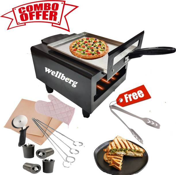 Wellberg Combo Electric Tandoor Grill Special with Kitchen Ware Accessories Electric Tandoor with Pizza Cutter, Magic Cloth, Aluminium Tray, Shock Proof Rubber Legs, Recipe Book, Skewers And tong (Black) Pizza Maker