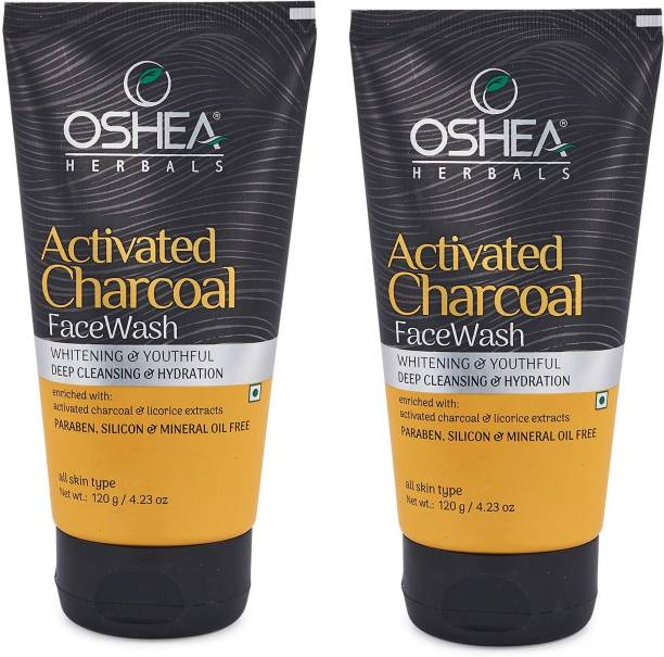 Oshea Herbals Activated Charcoal Whitening & Youthful Deep Cleansing & Hydration  Each 120g Pack of 2 Face Wash