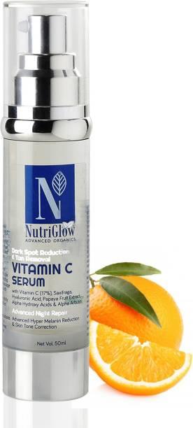 Nutriglow Advanced Organics Vitamin C Ultra Glow Serum with Hyaluronic Acid & Vit E for Dark Spot Reduction & Tan Removal