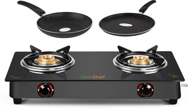 Greenchef EBONY Special Combo Glass Manual Gas Stove