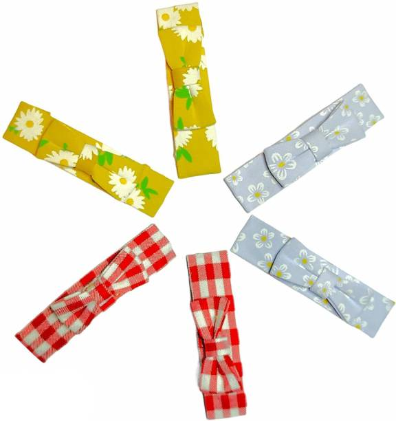 High Profile Fancy Printed Colour Ribbon Bow Hairpin Snap Tic Tac Hair Clip for Kids, Girls and Women - Pack of 6 (3 pairs) Tic Tac Clip