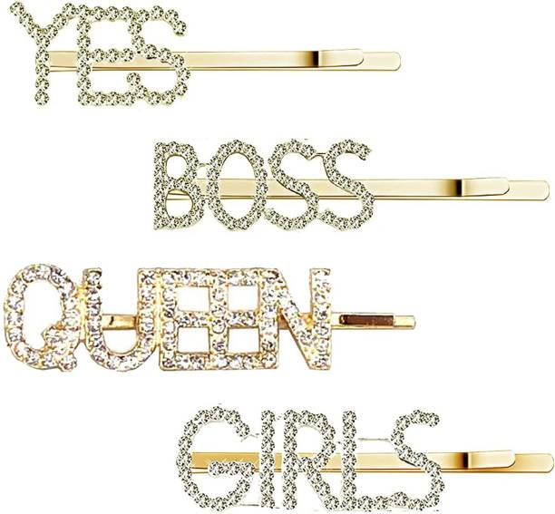 High Profile Gorgeous Stylish Golden Rhinestone Letter Bobby Pin, Word Crystal Hair pin, Metal Hair Clips, Sparkly Hair for Women Ladies (Pack of 4) Hair Pin