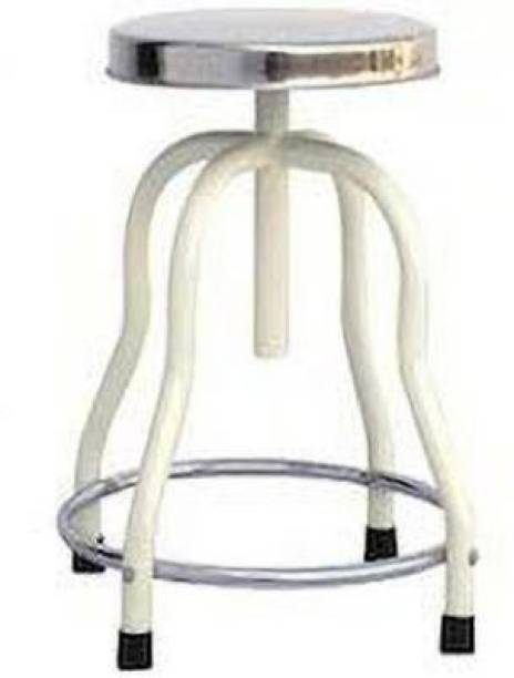Firstcare Doctor Patient Rotating Stool 4 Leg and Stainless Steel Top with Bottom Ring Hospital Food Stool Hospital Food Stool