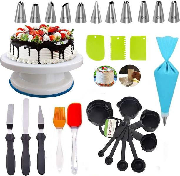 Crox C374 India Combo of Cake Making Turn Table and 12 Piece Cake Decorating Nozzle Set and 3-in-1 Multi-Function Stainless Steel Cake Icing Spatula Knife Set, 8 piece fondant tools, silicon brush spatula set and 3 Pieces of Dough Scrapper Multicolor Kitchen Tool Set