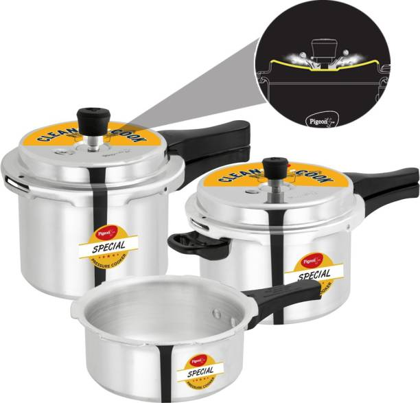 Pigeon by Stovekraft Limited Special Spill Free Clean Cook Induction Bottom Aluminium Pressure Cooker 2 L, 3 L, 5 L Induction Bottom Pressure Cooker