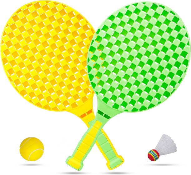 FIDDLERZ Table Tennis Racquet Set with 1 Shuttle and 1 Foam Ball for Kids Boys Girl Multicolor Table Tennis Racquet