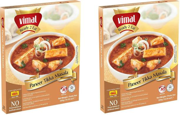 VIMAL Ready to Eat Delicious Paneer Tikka Masala Panjabi Vegetarian Meal with No Added Preservative and Colors | 300g Each | Pack of 2 600 g