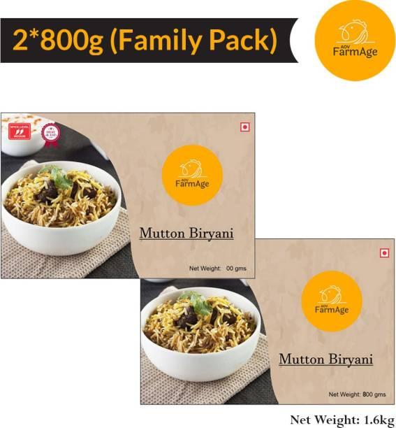 AOV FarmAge Premium Mutton Biryani-1600g-Ready to Eat | Instant Food | FarmAge 1600 g