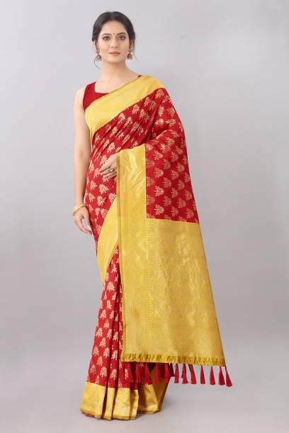 AVANTIKA FASHION Woven Kanjivaram Pure Silk Saree