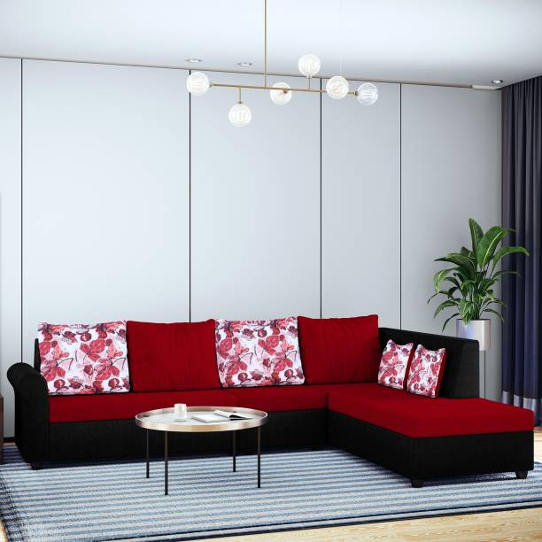 Bharat Lifestyle Rubik L Shape Fabric 6 Seater  Sofa