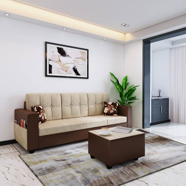 Bharat Lifestyle Winston Fabric & Leatherette 4 Seater  Sofa