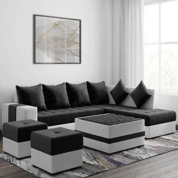 Torque Fabric 3 + 2 + 1 + 1 Black Sofa Set