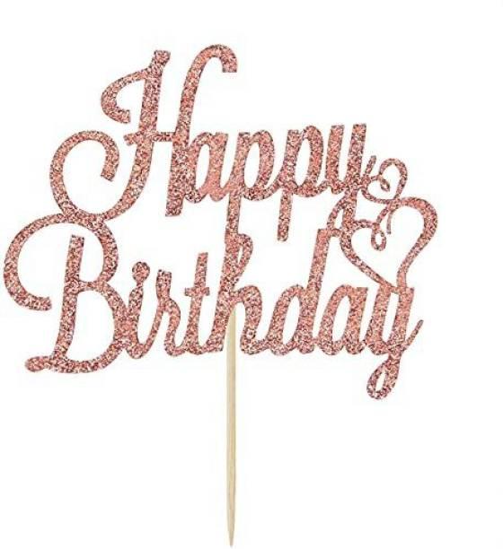 ZYOZI Rose Gold Glitter Happy Birthday Cake Topper, Birthday Party Decorations Supplies Cake Topper