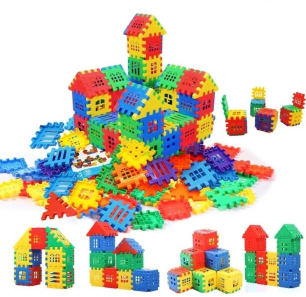 TechHark Multi Colored 72 Pcs Mega Jumbo Happy Home House Building Blocks with Attractive Windows and Smooth Rounded Edges - Building Blocks for Kids (72 Blocks) - Blocks Game