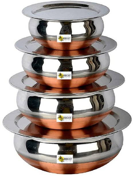 RBGIIT Pack of 8 Stainless Steel Pack of 8 Stainless Steel Stainless Steel Copper Bottom Cooking/Serving Biryani/Punjabi Pot/Pan/tapeli/vesel/Utility/Prabhuchetty/Bowl Combo Handi Set Kitchen Serving,Cooking Bowl (Prabhuchetty) Serving Bowl Set/Cookware Set/Sauce Pot and handis Stainless Steel Copper Bottom Handi,patila, Pot Biryani Punjabi Handi Set Container Pot Sets Handi Set urli Kitchen Serving Cooking dinning Bowl biryani and kadhai Serveware/Tableware Copper bottom. urli / cooking pot for kitchen. Export quality stainless Ideal for daily use. Heats evenly and cooks faster.When not in use, stack the smaller container inside bigger containers saving storage space. Easy to clean & maintain.Handi, Flexible cooking options: gas cooking Dinner Set