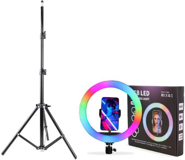 Alchiko High Quality RGB 12 Inch Ring Light With 2.1 Big Tripod Stand Portable Foldable Umbrella Flash Light Stand Compatible With All Smartphones & Cameras, For Live Streaming, Make up, Video Conference, Online Classes 2500 lx Camera LED Light