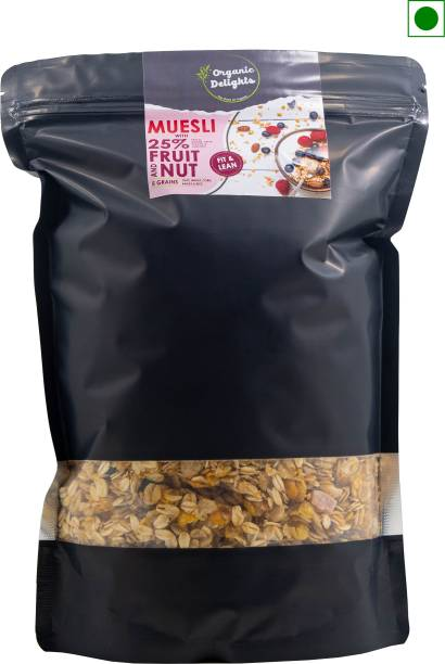 Organic Delights Muesli with 25% Fruit and Nuts |Tastier now with Cranberries and Almonds, Raisins Breakfast Cereal High in Iron Source of Fibre Naturally Cholesterol Free…