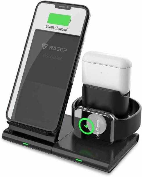 RAEGR RG10125 Arc 1250 [3-in-1] Charging Dock, 10W Wireless Charger for Phones + Wired Dock for Apple Watch & Airpods Charging Pad