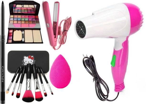 Crynn Smudge Proof Kajal & Pro Ultra Saloon Professional Hair Straightener & TYA 6155 Makeup & Eyeshadow Kit & Professional Set of 7 Makeup Brush & Beauty Blender Sponge Puff & Studio Professional Hair Dryer