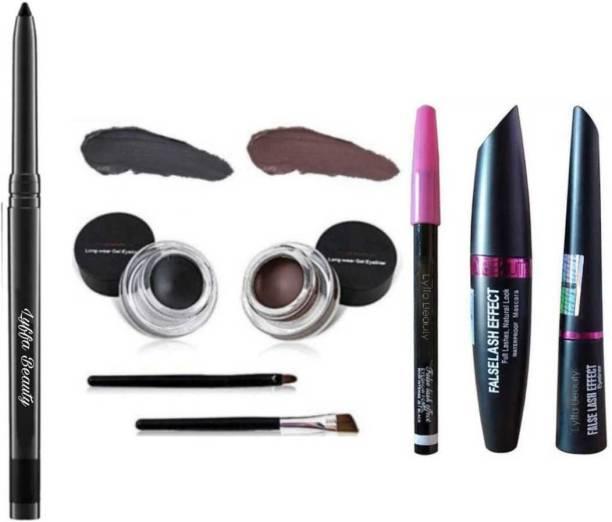 LYFFA beauty Smudge Proof Water proof Makeup beauty Kajal & High Quality 2in1 Black & Brown Gel Eyeliner + 3in1 Smudge Proof Long lasting Kajal,Mascara,Eyeliner