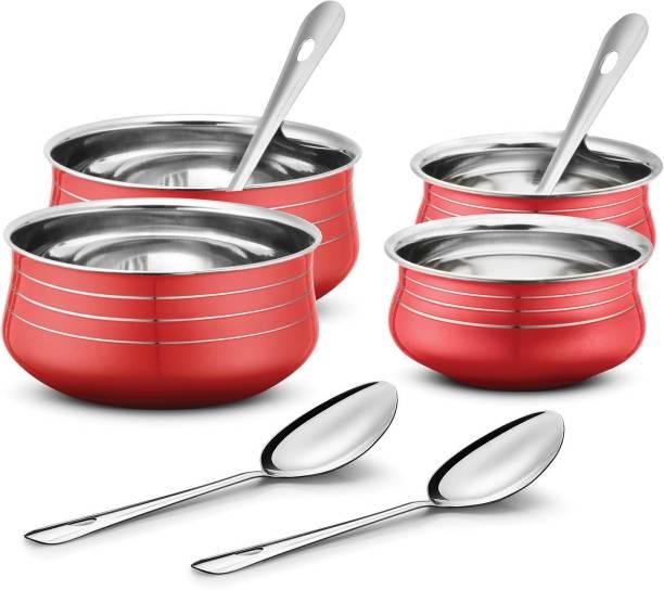 Urban Chef Stainless Steel 4 Pcs Handi Set with 4 Pcs Service Spoon- 4+4= 8 Pcs Set Cookware Set