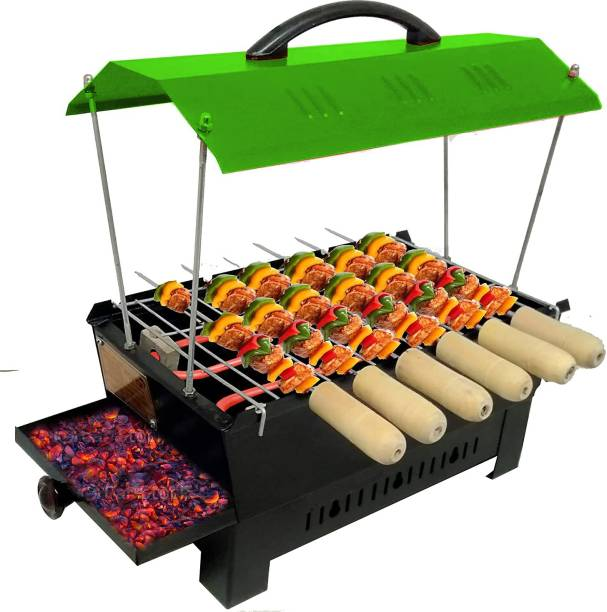 Geico master Green Hut Shape BBQ-02365 Electric & Non Electric Barbeque Grill Tandoori Maker For Home Use with Extra Accessories (Green) Electric Grill Electric Tandoor