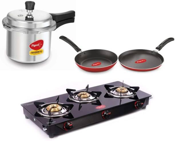 Pigeon Gas Stove Combo - Brunet 3 Burner Gas Cooktop + Aluminium Pressure Cooker 3 Litre + Flat tawa 250 + Fry Pan 240 Stainless Steel Manual Gas Stove