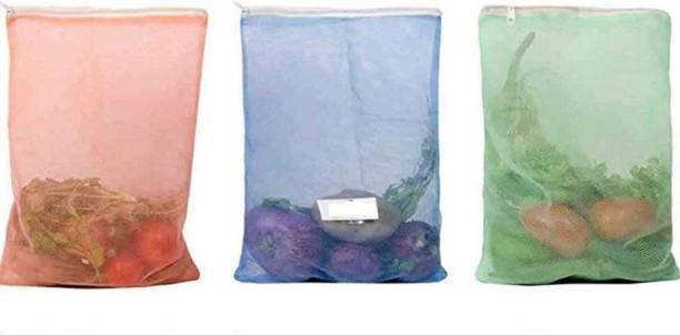 Modi Household Multi-purpose Vegetables Fruits Mesh Fridge Storage Washable Zip Bags Pack of 3 Grocery Bags