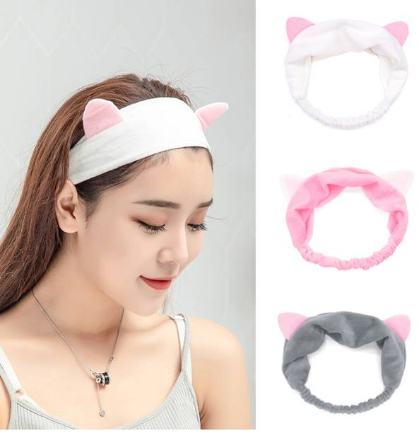 namohh enterprisses Makeup Headband, Cat Ear Hair lace, Spa Cosmetic Headwraps, 3 Pack Head Band