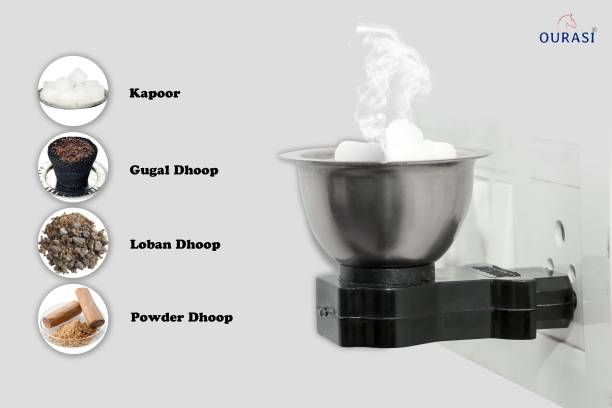 OURASI ALL IN ONE Dhoop Dani Incense Burne Quick Burn Steel Kapoor Dani Electric Stand for Home, Office, Temple God Puja Useful for Loban, Bakhoor, Oudh, Gugal, Kapoor, Dhup powder etc... Stainless Steel, Plastic Incense Holder