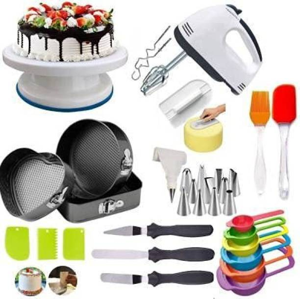 a class CF54F Scarlett Beater for Cake Baking Hand Mixer, 3 in 1 Multiple Cake Mould, Cake Table, 3 in 1 Knife Set, 12 Piece nozzles, Silicon Spatula Brush, 3 Cake Side Scraper (Full Baking Tools KIT) Multicolor Kitchen Tool Set