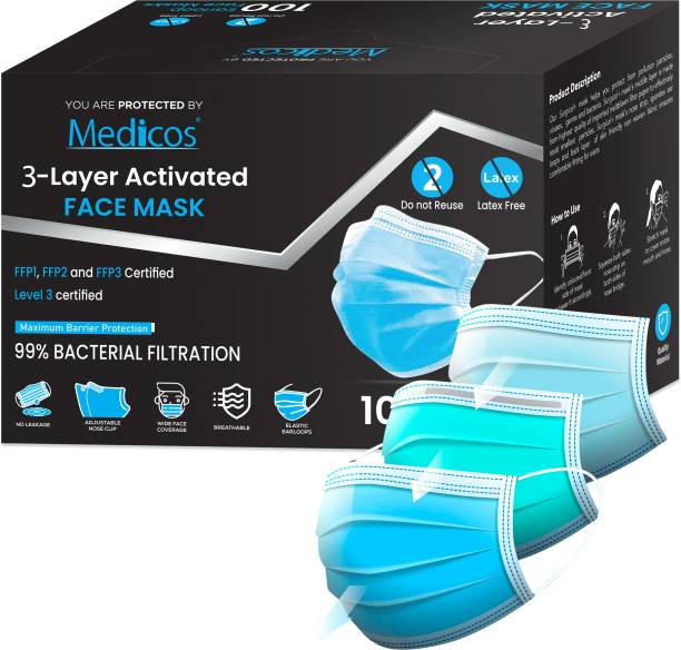 MediCos 3 Ply Protective Face Mask with Nose Pin, BFE >98% & PFE >95%,ISI,CE, BIS & ISO 13485:2016 Certified, Tested by SITRA, Complies to ISI Level 2 & EN14683 Type IIR, Premium Mask For Men and Women 3 Ply Surgical Disposable Face Mask With Thick Melt Blown (SMMS) Filter, Anti-Virus, Anti-Bacteria, Anti-Pollution Mask with Nose Clip PP05/100PCS Surgical Mask With Melt Blown Fabric Layer