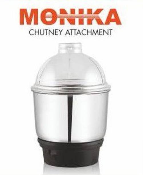Monika 1PC Stainless Steel Chutney Grinding Jar with Plastic Lid Mixer Grinder Fit All Regular Grinder Mixer Juicer Jar