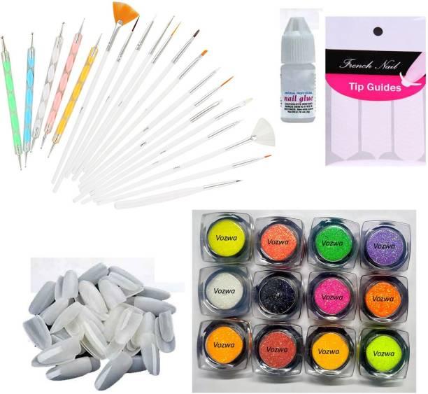 VOZWA 20pcs Nail Art Design Dotting Painting Drawing UV Polish Brush Pen Tools Set Kit + 100 False Nails + 1 Pc Nail Glue + 1 Tap Tip Guide + 12 color Neon Nail Glitter Powder